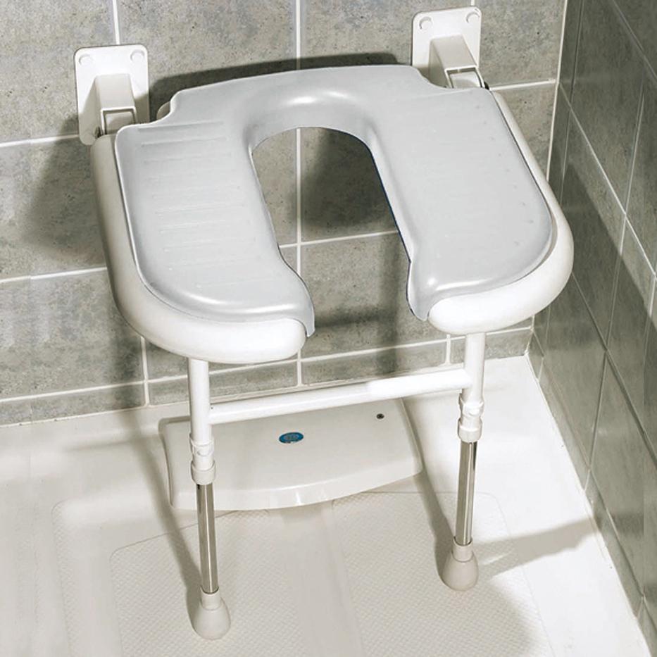 Asiento de ducha abatible forma de u con patas geriayuda for Asientos para duchas